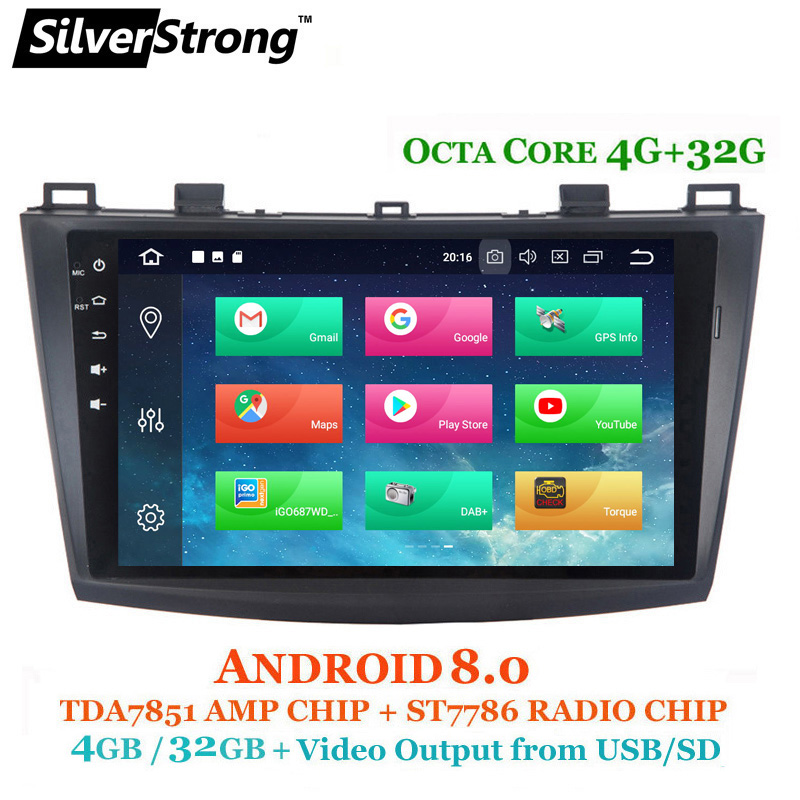 SilverStrong OctaCore 4G Android8.0 GPS para coche Radio Mazda3 coche GPS para MAZDA 3 coche estéreo con CANBUS TPMS DVR DAB opcional