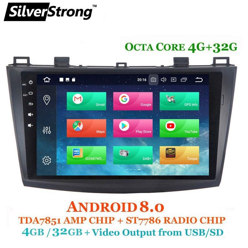 SilverStrong OctaCore 4g Android8.0 Autoradio GPS Pour Mazda3 GPS de Voiture Pour MAZDA 3 Voiture Stéréo avec TPMS DVR DAB En Option