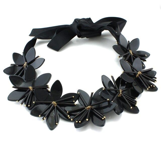 Black Acrylic Flowers Statement Necklace