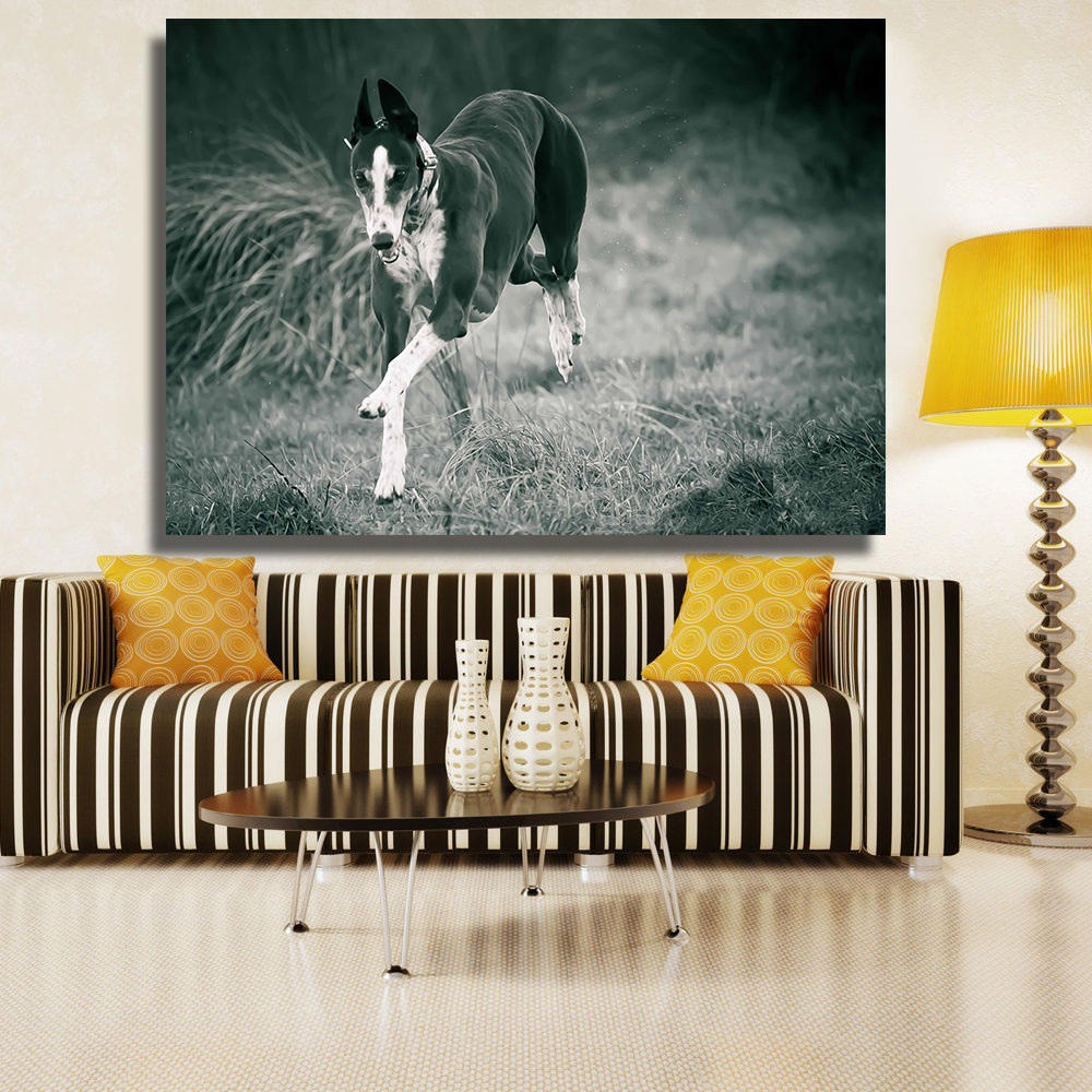 AAGG Wall Art Black And White Greyhound Running Animal oil painting on Canvas wall painting picture for Living Room No framed