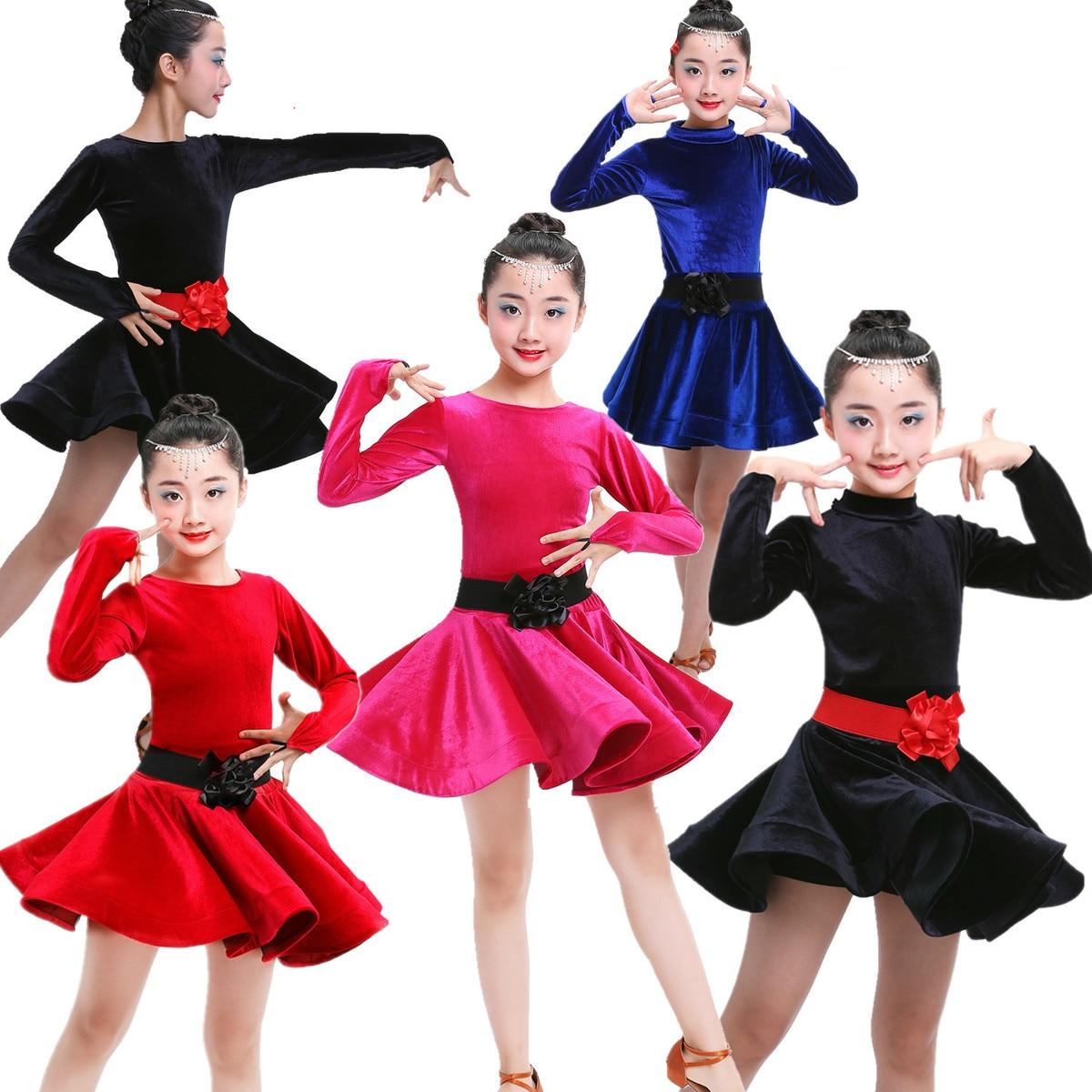 child children professional latin dance for sale dress girl velvet patterns ballroom dancing dresses kids rumba cha cha costumes