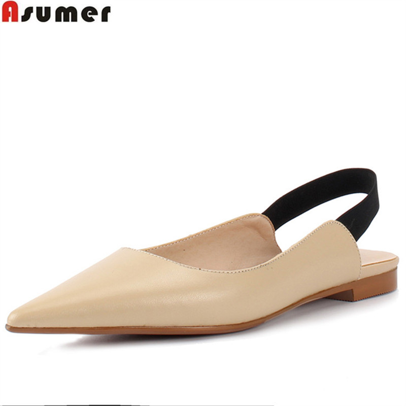 ASUMER 2018 fashion spring autumn flat shoes woman pointed toe casual comfortable women flats genuine leather shoes asumer 2018 spring autumn casual ladies single shoes square toe shallow comfortable women genuine leather flats shoes