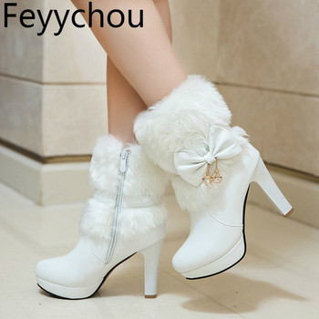 Women Boots Autumn Winter Warm Fur 2018 New Sexy Fashion Pu Mid-calf Motorcycle Snow Boots Black Pink White High-heeled Shoes asumer new arrive youth fashion height increasing mid calf boots for women high quality pu soft leather winter warm snow boots
