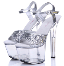 Women Shoes Sandals  Model T Runway Silver Crystal Sandals Female 17cm Super High-Heeled With Fine Heel Waterproof Female Shoes