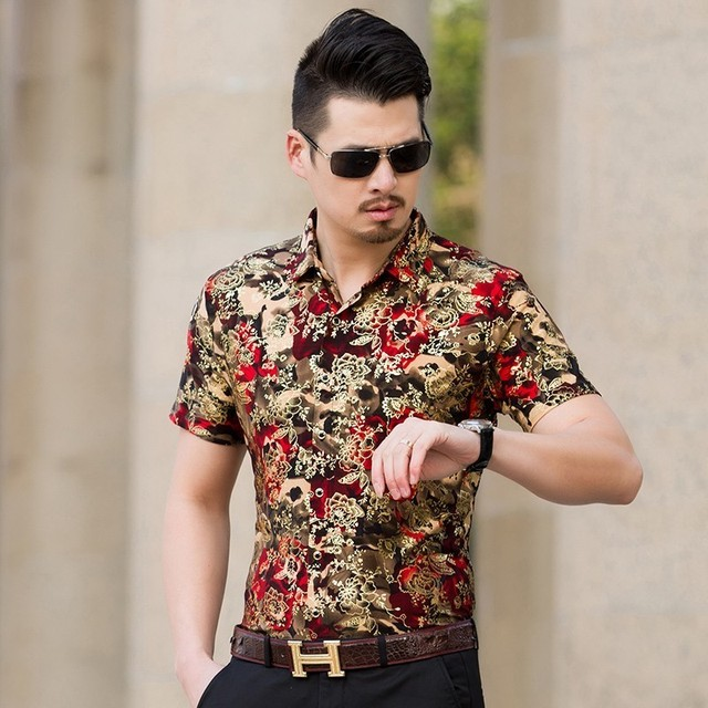b9dcd09708c998 gold foil print shit mens floral short sleeve printed shirts men mens  flower shirt men chemise homme camisa floral masculina
