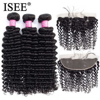 ISEE HAIR Human Hair Bundles With Frontal 13*4 Pre Plucked Lace Frontal Remy Peruvian Deep Wave Bundles With Frontal - DISCOUNT ITEM  40% OFF All Category