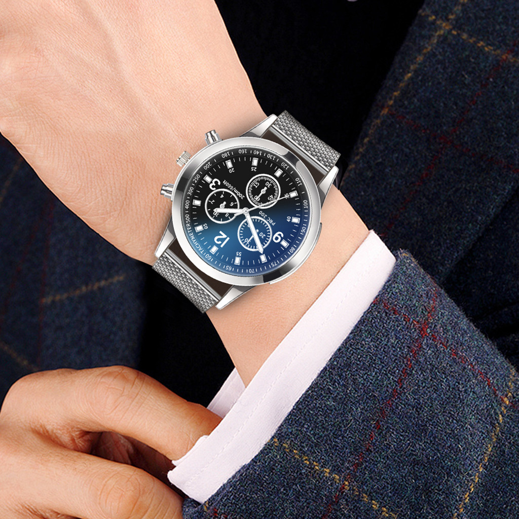 Fashion Luxury Watches Quartz Mens Watch Stainless Steel Mesh Dial Casual Bracele Watch Hot Sale Solid Color Watches For Male