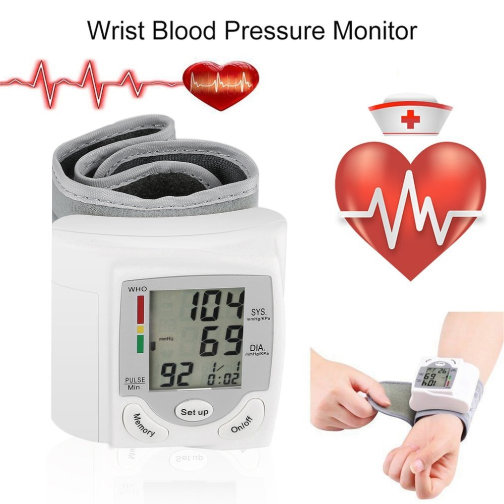 Handgelenk Blutdruck Monitor Tragbare Automatische Digitale LCD Gerät Herz Schlagen Rate Pulse Meter Messen Tonometer Weiß