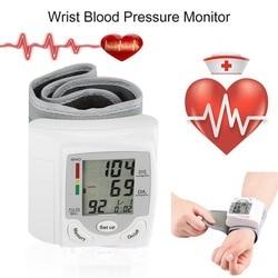 Wrist Blood Pressure Monitor Portable Automatic Digital LCD Device Heart Beat Rate Pulse Display Meter Measure Tonometer White