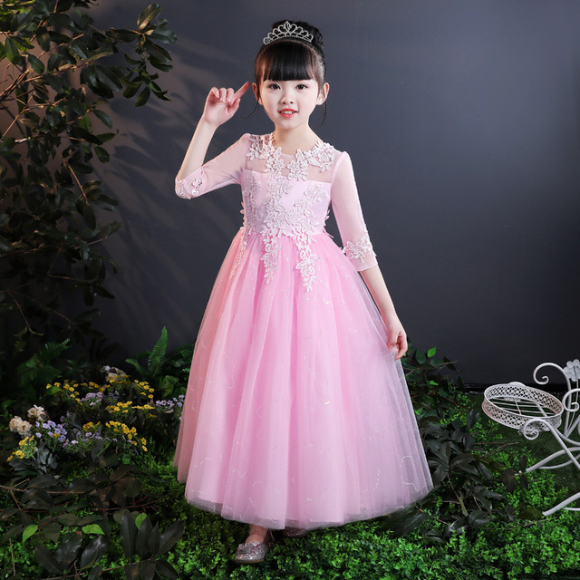 cf4ada9043 Beautiful Baby Girl Dresses Girls Lace Dresses 2018 New Summer Children  Princess Dress Kids Clothing Tutu Floral Lace Dress