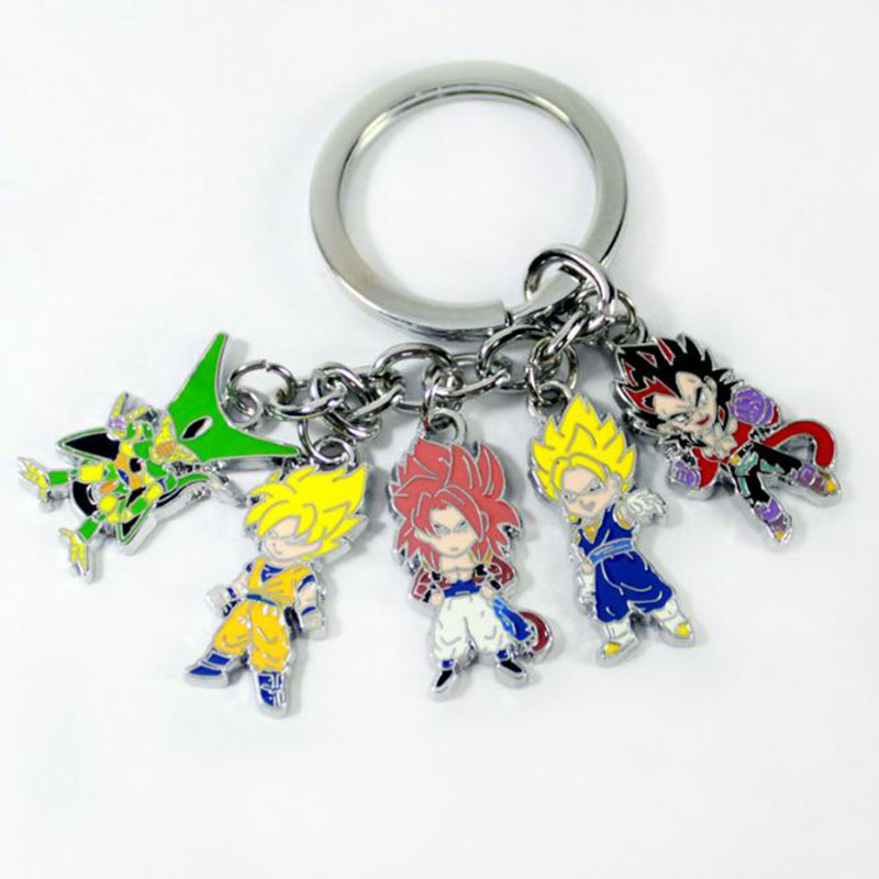 1 Pc Pop Anime Dragon Ball Z Super Saiyan Keychain Metal Son Goku Vegeta Action Figures Toy Pendants Charms hanging Key Chain