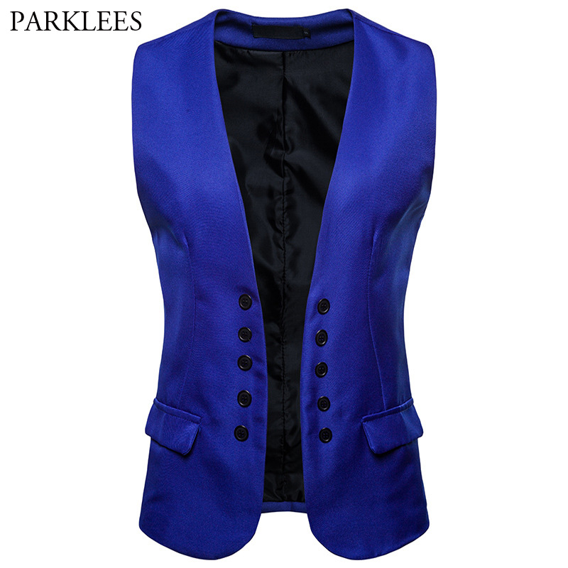 Royal Blue Suit Vest Men 2018 Autumn New Double Breasted Wedding Tuxedo Dress Vests For Men Casual Sleeveless Vest Waistcoat XXL