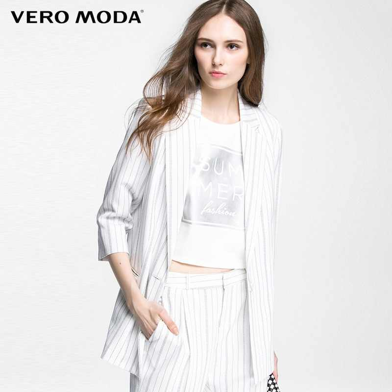 Vero Moda Brand  NEW striped one button straight three quarter sleeve double pocket turn-down collar women suit |316208009