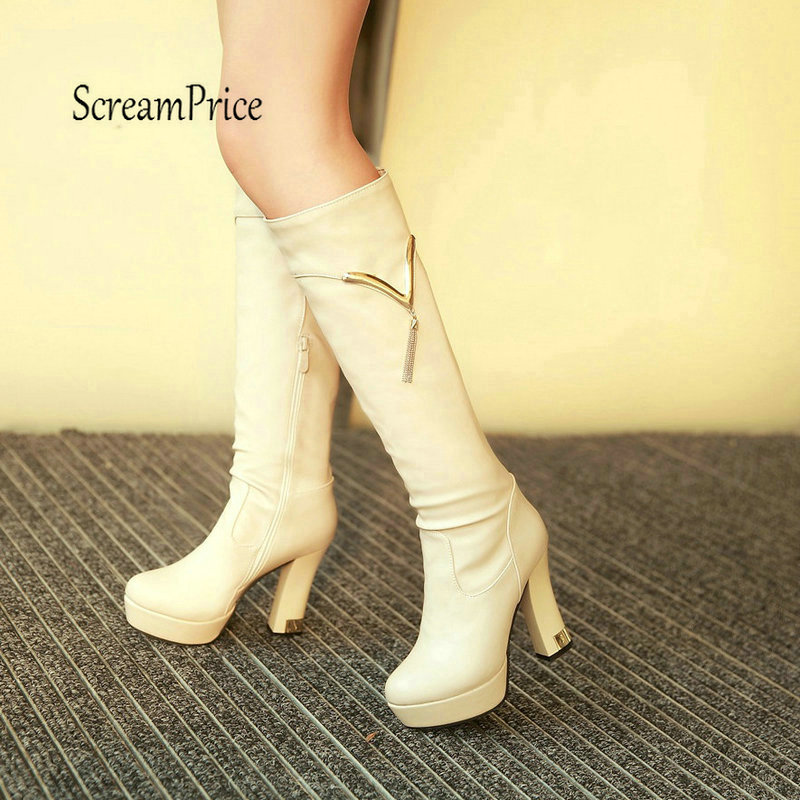 Women Thick High Heel Knee High Boots Fashion Platform Side Zipper Winter Woman Shoes White Black Apricot women platform thick high heel knee high boots fashion rivet with side zipper warm winter shoes black white