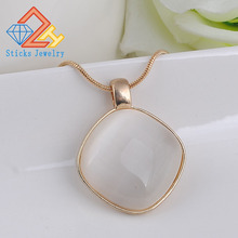 цена Statement Necklaces Rose Gold  Big Opal Pendants Circles Choker Necklace for Women Christmas Gift Collares mujer