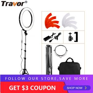Travor RL-18 240 pcs Dimmable photography ring light with carry bag for makeup