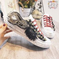 Sweet color three dimensional flower sequined cloth women shoes with diamonds in 2019 Free Delivery