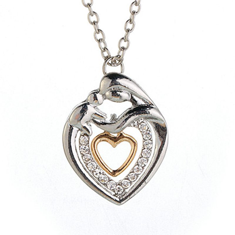 New Mother's Day Gift Mother Children Necklace Mom Baby Child Family Love Rhinestone Heart Pendant Necklace