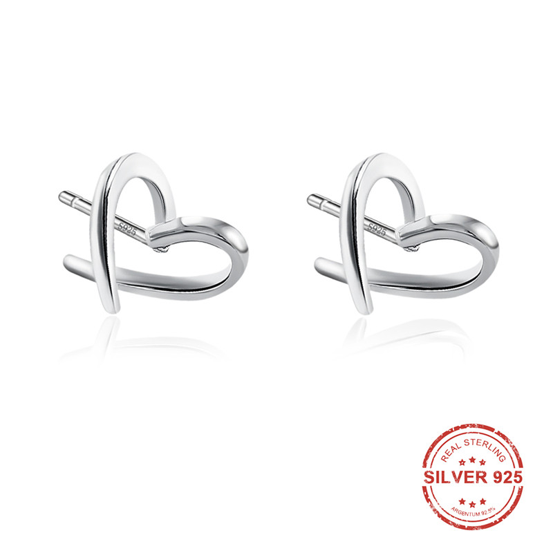 Boako 2018 100% 925 Sterling Silver Jewelry Fashion Cute Tiny 7mm Hollow Heart Stud Earrings Gift For Girls Kids Lady R4 Elegant And Graceful