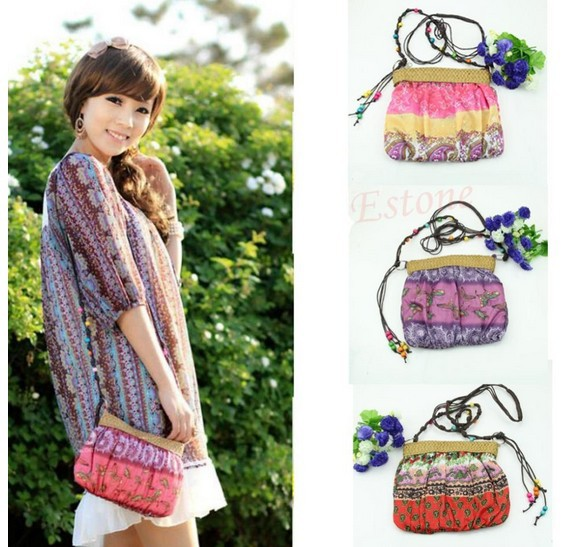 10PCS/LOT Boho Bohemia National feature Floral Straw Weave Strap Cloth single shoulder bag Beach Messenger Bag