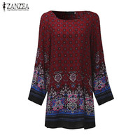 ZANZEA Women Dress 2018 Ladies Sexy Mini Vintage Print Dress O Neck Long Sleeve Floral Casual Ethnic Short Veatidos 4