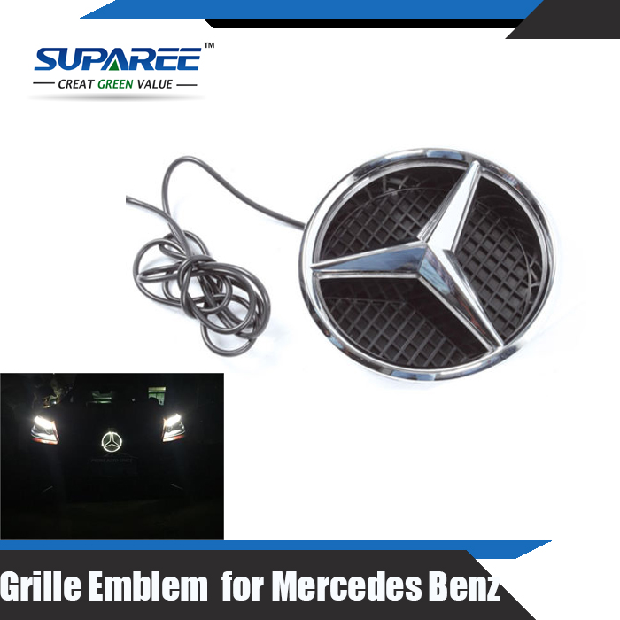 Illuminated led light front grille emblem badge for for Mercedes benz symbol light