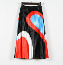 Skirts Woman 2019 New Woman Spring Contrast Color Patchwork Striped Long Pleated Skirt Elastic High Waist Maxi Skirt Streetwear contrast striped waist pleated skirt