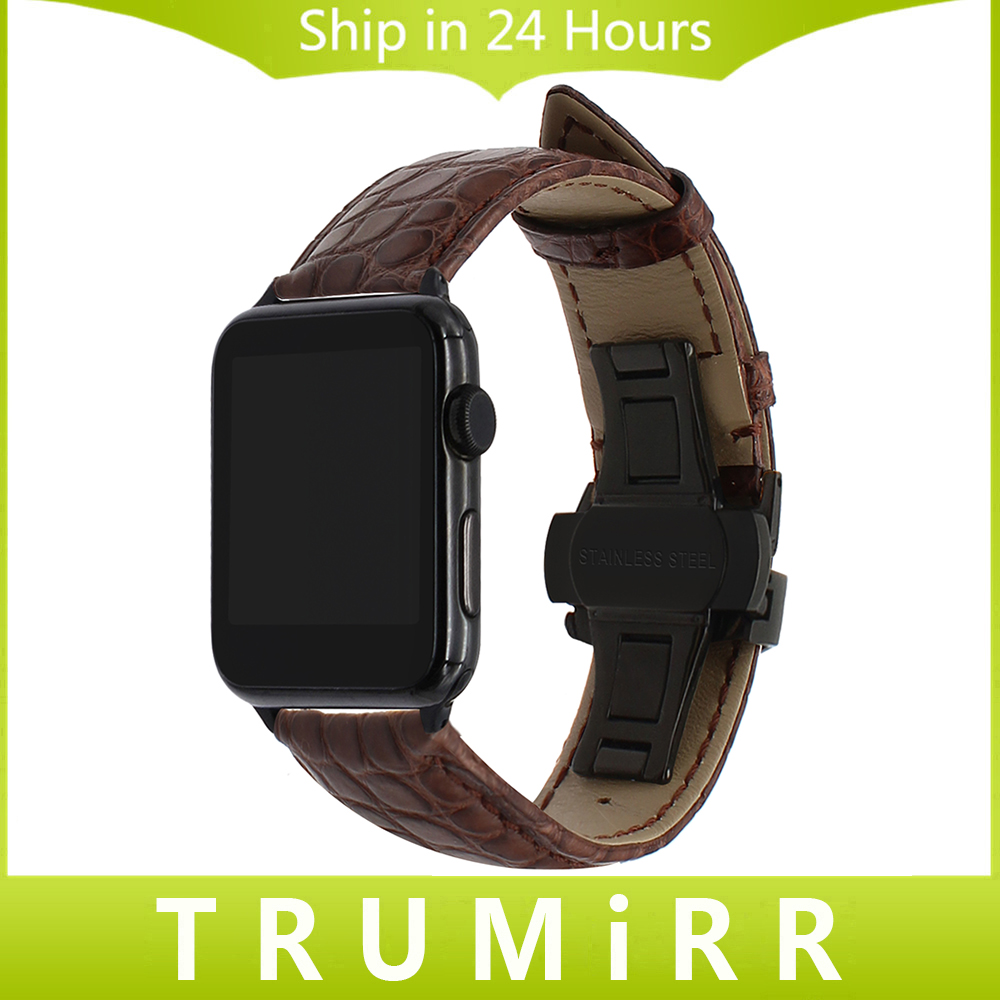 Genuine Alligator Leather Watchband for iWatch Apple Watch 38mm 42mm Band Steel Butterfly Buckle Strap Croco Belt Wrist Bracelet