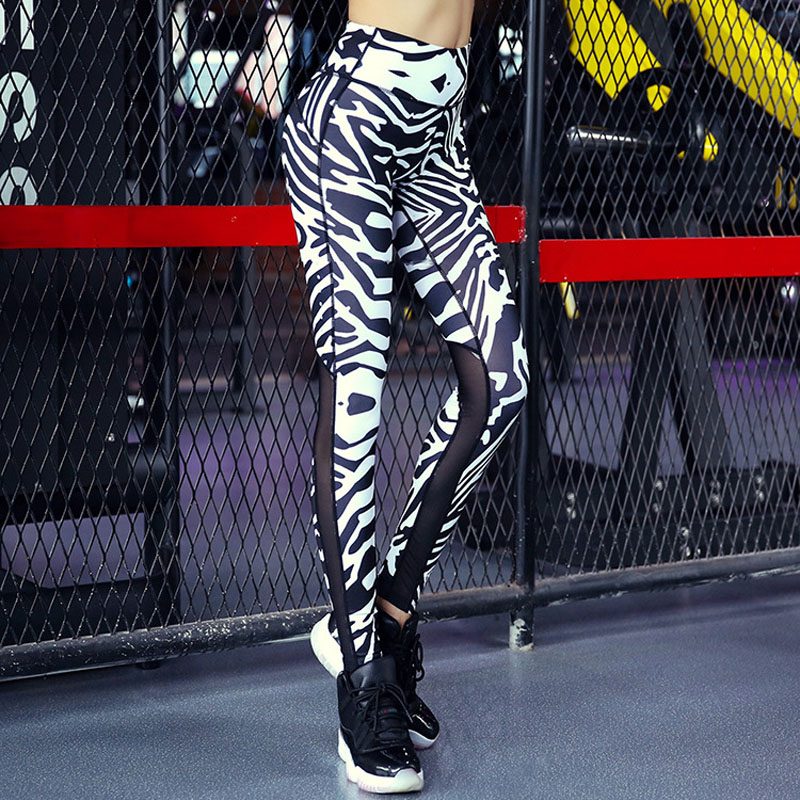 Zebra Stripes Print Leggings Mesh Splice Top Qualität Frauen Leggings Sport Fitness...