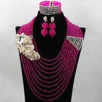 매력 자홍색 핑크 아프리카 웨딩 보석 세트