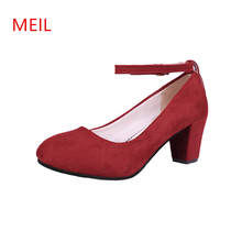 Thick High Heels with Straps Office Dress Lady Shoes Women Mary Jane Pumps 2019 Fashion Flock Buckle Red Pink Black