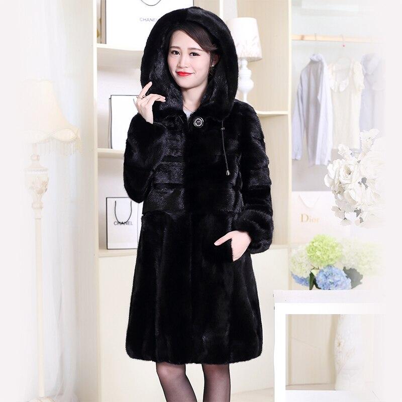 Нерадзурри реального норки пальто Китай натуральная с капюшоном зимние натуральный норки Меховая куртка с длинным рукавом Черный цвет; Бол...
