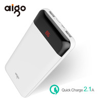 Aigo 20000mAh Power Bank LCD Display 2 USB Outports Powerbank For Xiaomi Mi Portable External Battery