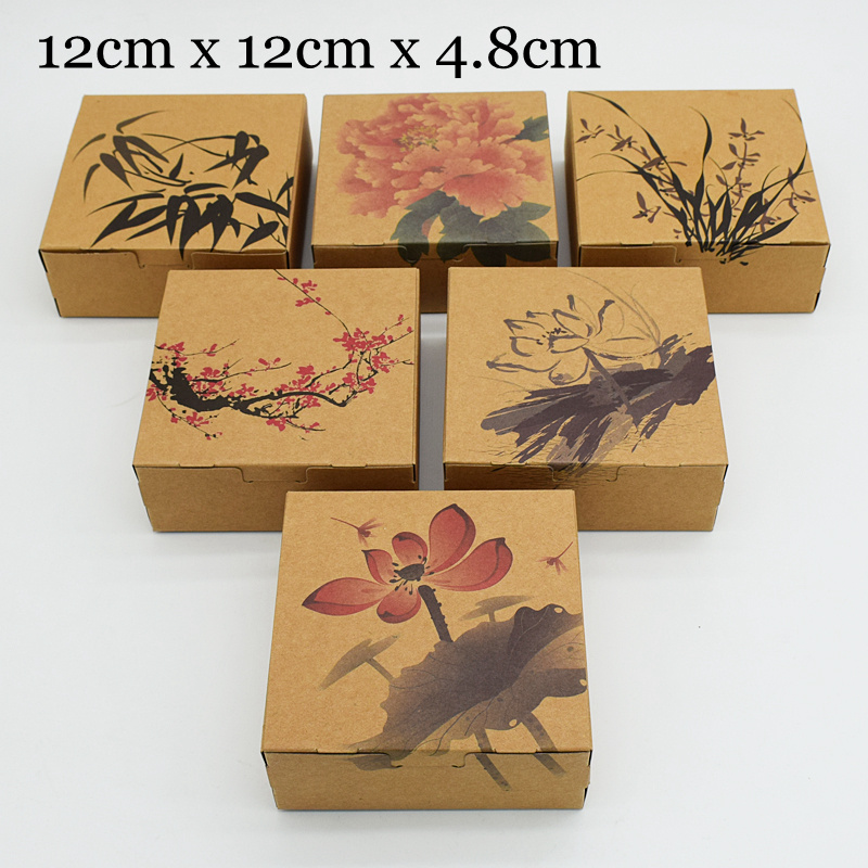30pcs/lot 12*12*4.8cm Chinese Style Brown Kraft Paper Packing Boxes Packaging for Candy Biscuit Chocolate Cookie Gift Box Party