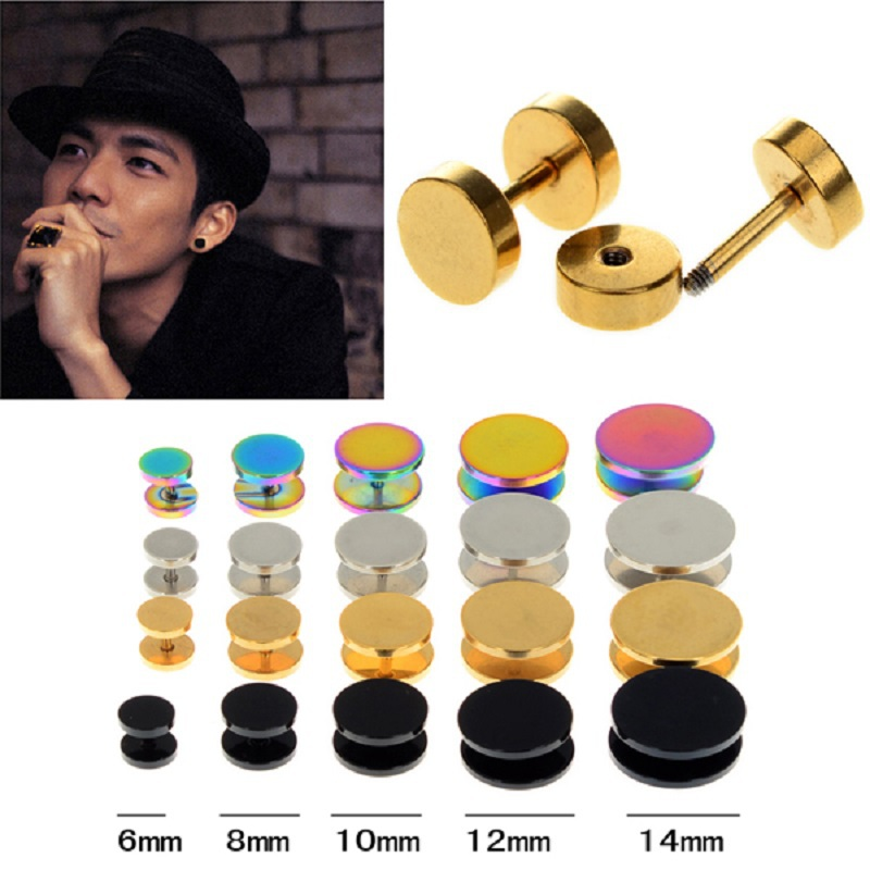 1PC Stainless Steel Cheater Faux Fake Ear Plugs Flesh Tunnel Gauges Tapers Stretcher Earring 6-14mm Piercing Jewelry image