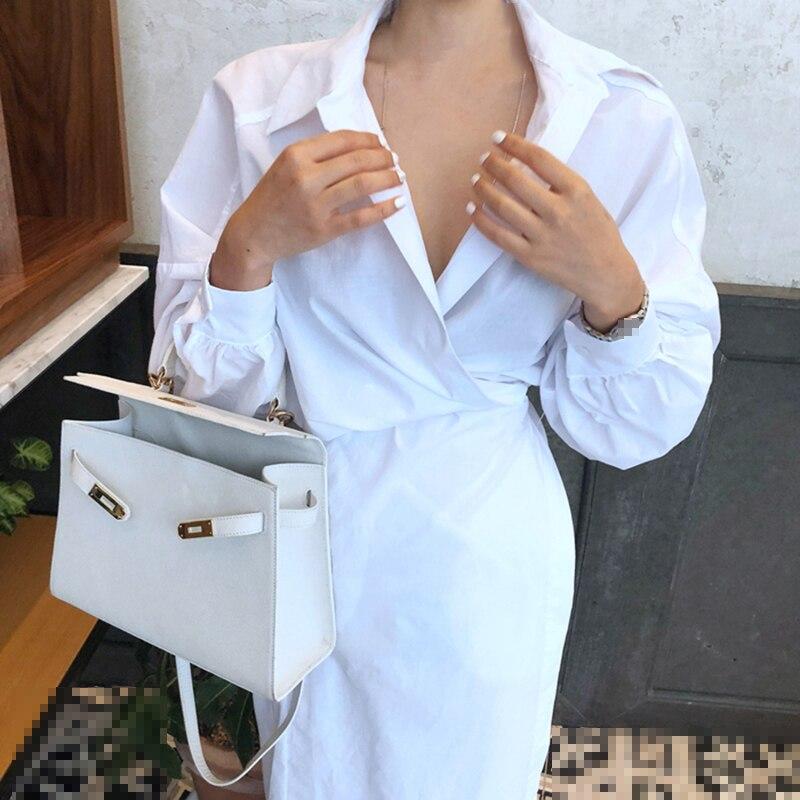 CHICEVER Solid High Waist Lace Up Dress For Women Hem Split Lantern Sleeve Slim Summer Dresses Female Clothes Fashion Korean New 5