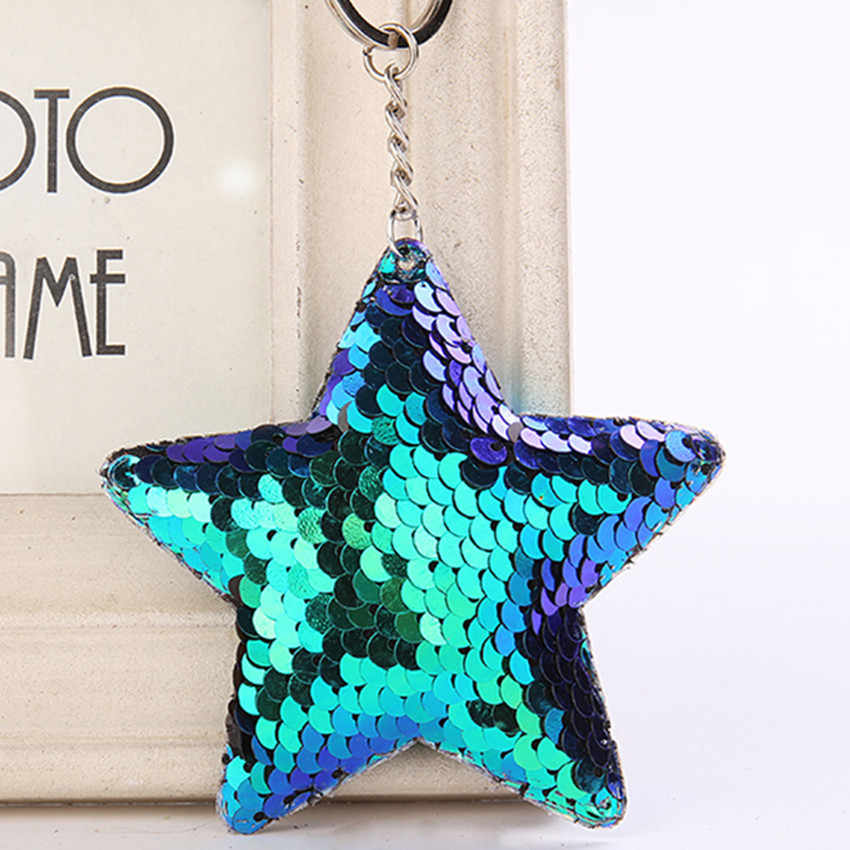 Cute Chaveiro Star Keychain Glitter Pompom Sequins Key Chain Gifts for Women Llaveros Mujer Car Bag Accessories Key Ring 6C2355