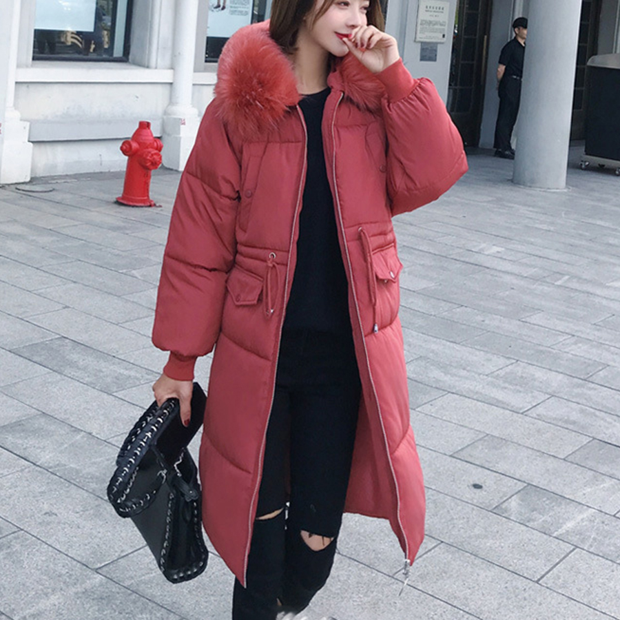 Women Hoodie Long   Down     Coats   Thicken Warm Soild   Down   Jacket Womens Outerwear Zipper Cotton   Coat   Slim Fashion Winter New 2018