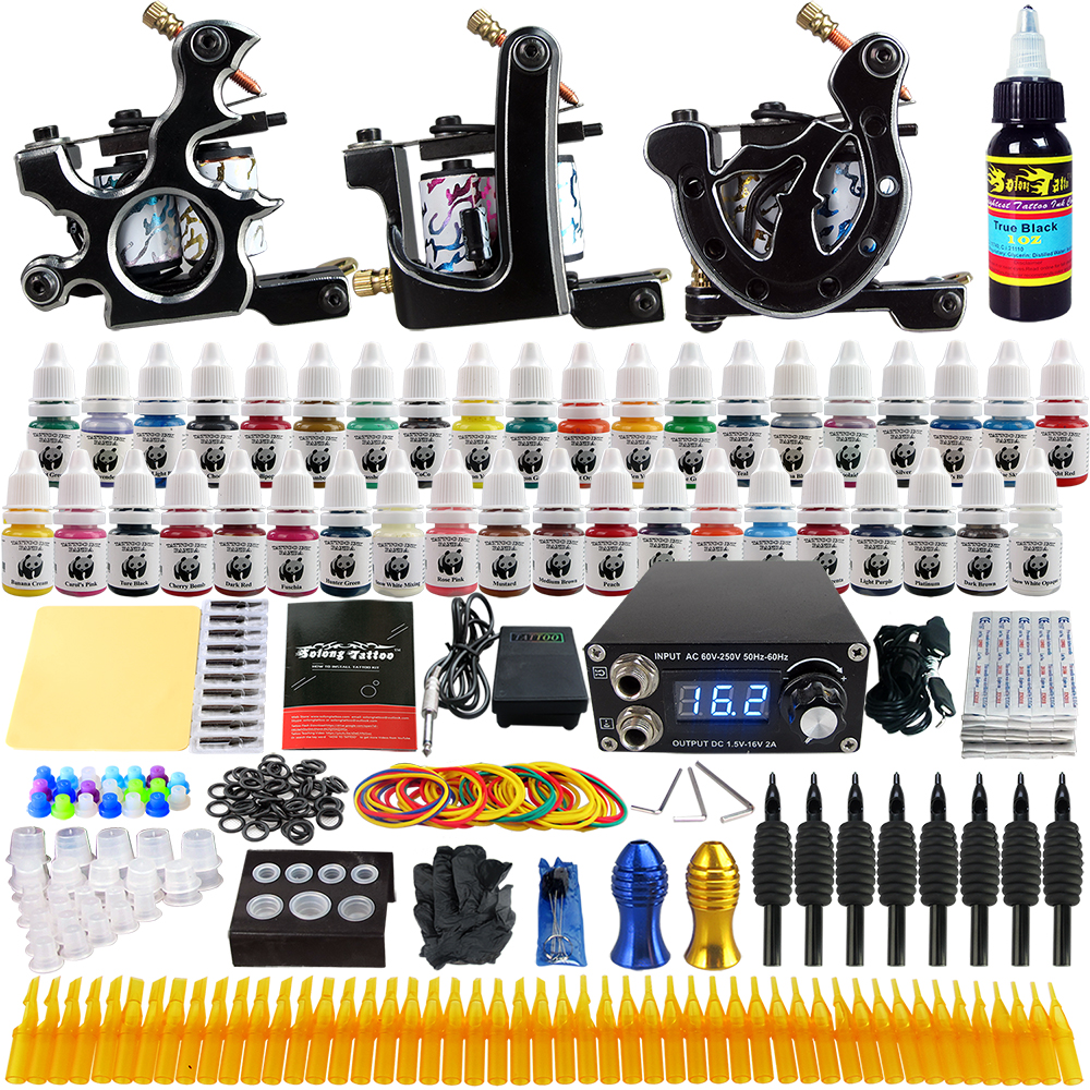 Solong Tattoo 3 Pro Tattoo Machine Gun Kit 40 Color Pigment Inks Power Supply Foot Switch Needles Tips  TK356Solong Tattoo 3 Pro Tattoo Machine Gun Kit 40 Color Pigment Inks Power Supply Foot Switch Needles Tips  TK356