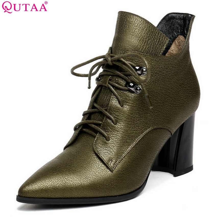 QUTAA 2019 Women Motorcycle Boots Cow Leather+pu Platform Square High Heel Zipper Winter Shoes Woman Ankle Boots Big Size 34-43 qutaa 2019 winter boots women ankle boots all match platform zipper square high heel cow leather pu women boots big size 34 39