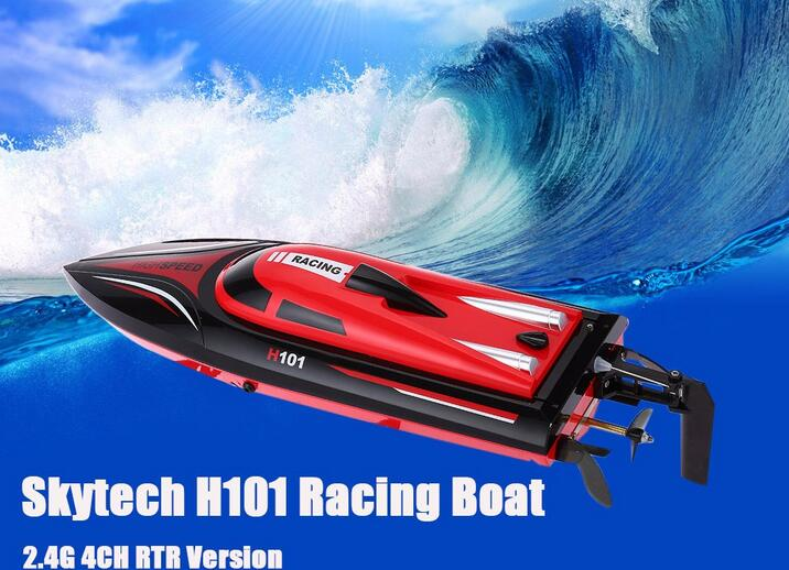 Surprising Ready-to-go Simulation Model 2.4G 4CH Remote Control RC Racing Boat Toy RTR Skytech H101 Version Special Summer Game  infrared remote control simulation brazil turtle toy animal model