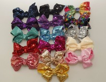 wholesale 10Pcs/lot 5 Rainbow Sequin Bow with Clip Girls Handmade Boutique Bling Bows Barrettes Hairgrips Kids Hair Accessories цена