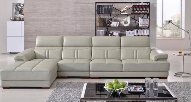 HiLEDER Top Grain Genuine Leather Sofa Moderate Thick Sofa Leather Cover,  Confortable And Durable L Shaped Sofa   HiLEDER