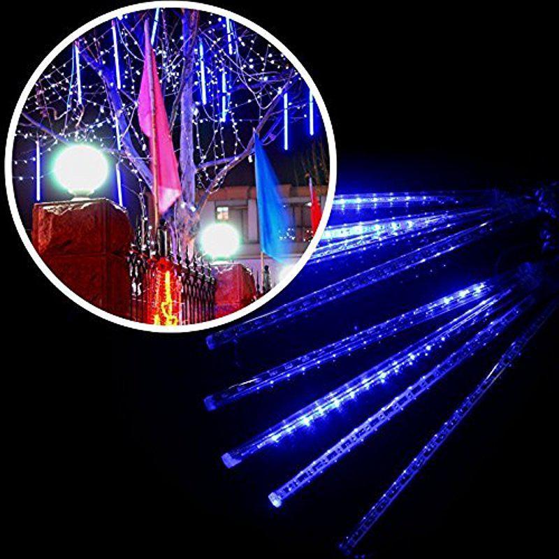 AKDSteel 8 Falling Rain Drop/icicle Snow Fall String LED Xmas Tree Cascading Light Decor (blue, EU plug)
