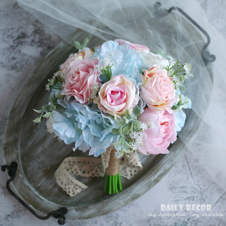 2018 new Artificial pink blue rose silk flower wedding bouquet for brides bridal hand Holding flowers bridal bouquet supplies