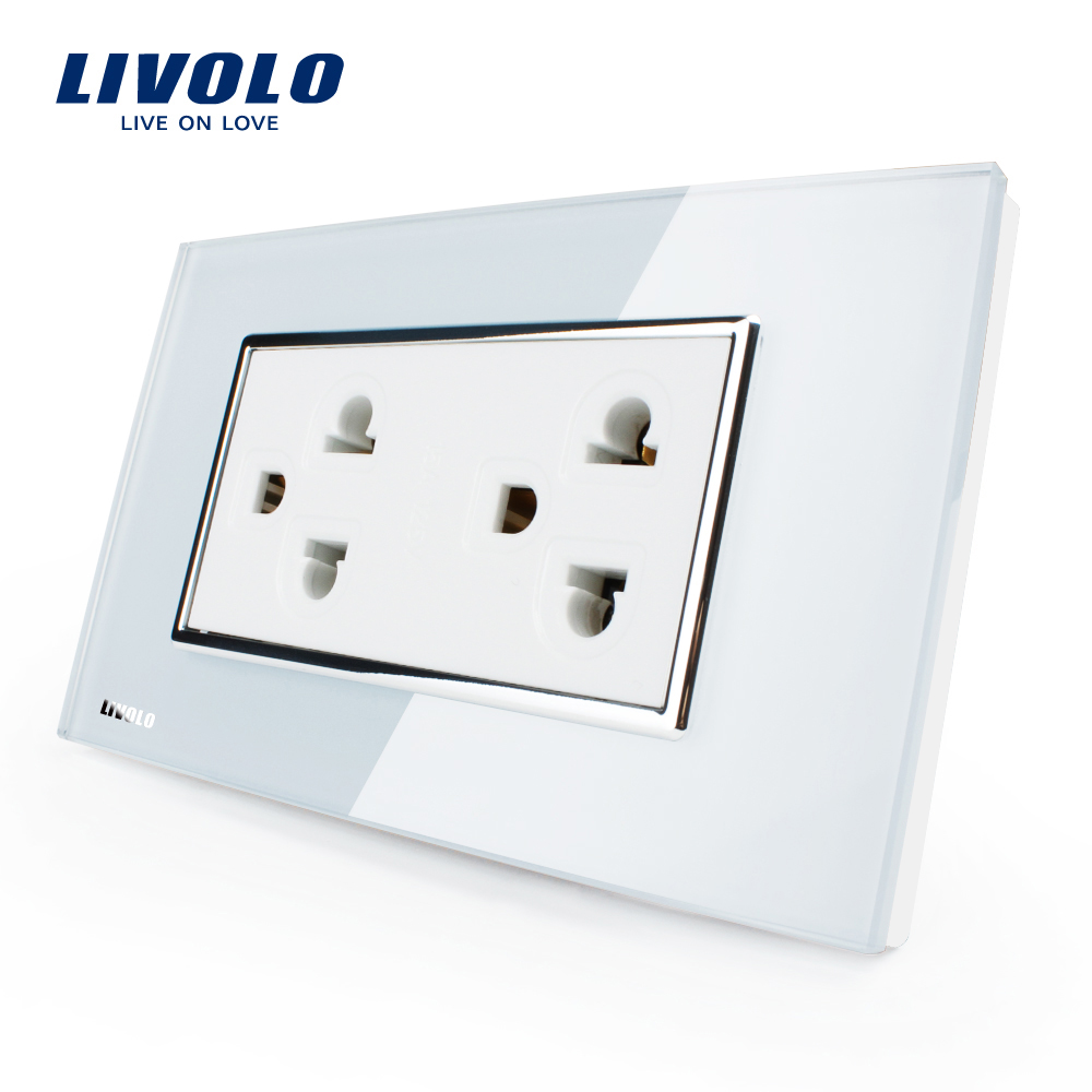 Livolo  US Standard US Socket(15A), White/Black Crystal Glass, AC 110~220V, Wall Powerpoints With Plug, VL-C3C2CUS-81/82 15a 16a south africa socket and double ubs socket wallpad 146 86mm white glass 2 usb ports and 16a sa switched socket with led