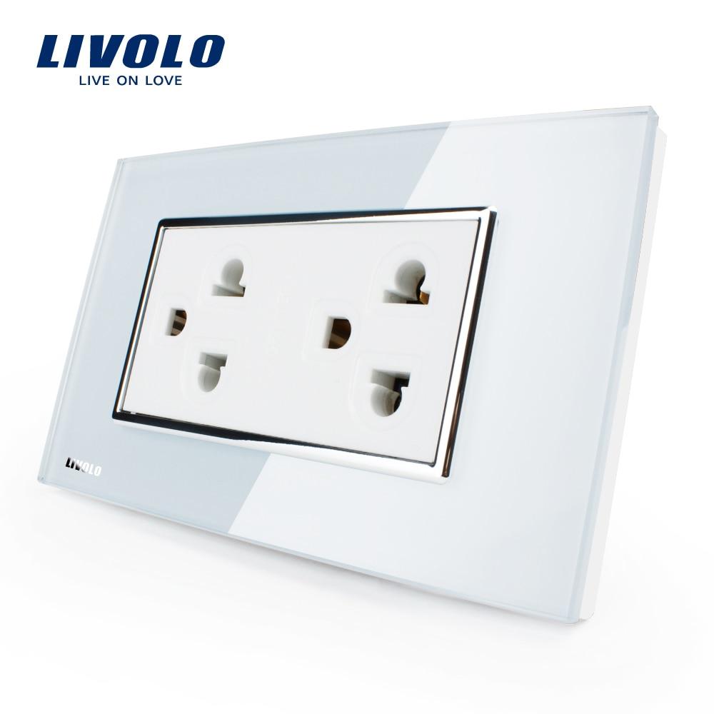 Livolo US ee.uu. Socket (15A), Blanco/Negro Cristal, AC 110 ~ 220 V, Powerpoints de pared sin enchufe, VL-C3C2CUS-81/82