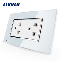 Livolo US Standard US Socket 15A White Black Crystal Glass AC 110 220V Wall Powerpoints With
