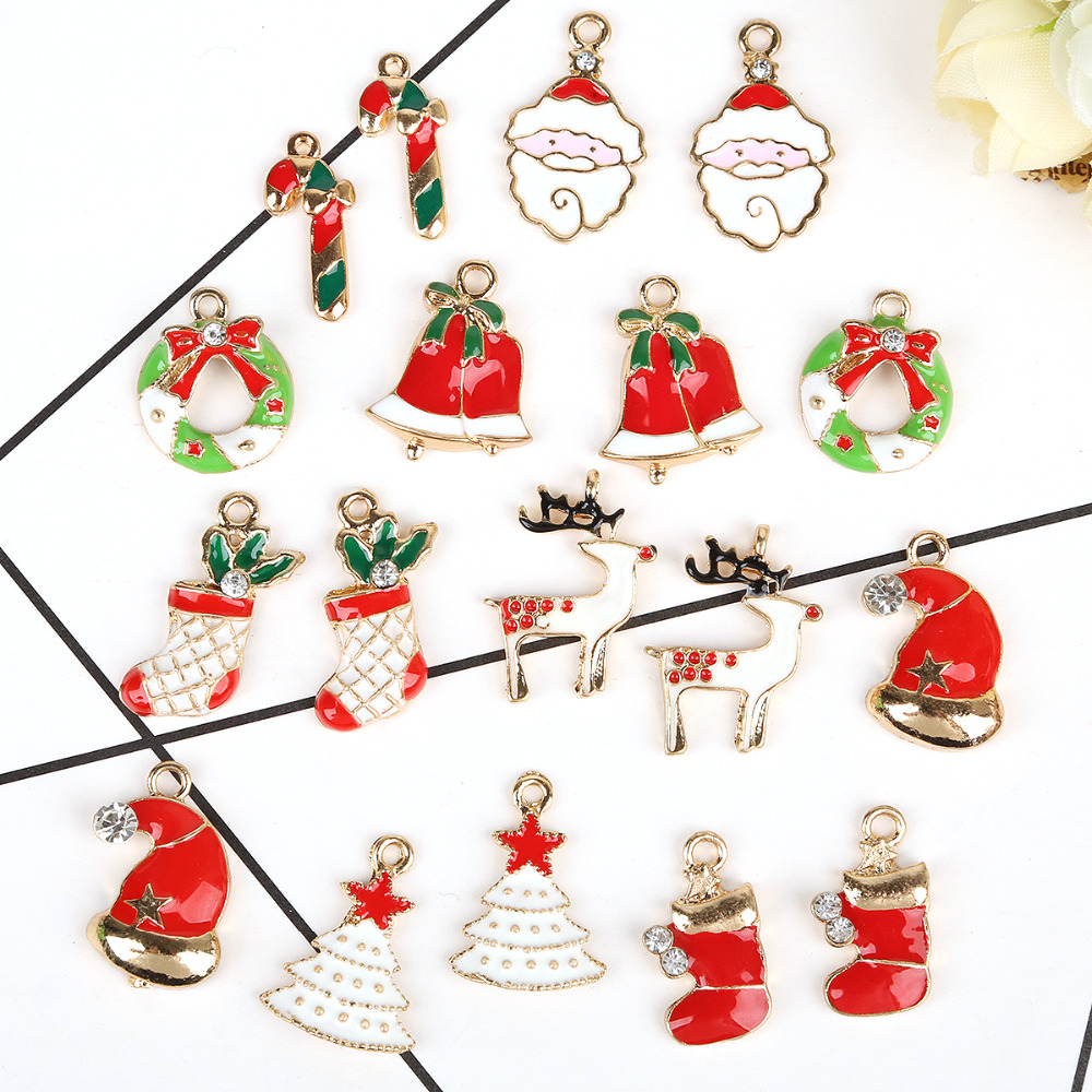 5pcs Christmas Tree Decorations Hanging Metal Alloy Pendants Charms Santa  Claus Christmas Ornaments Party Supplies(