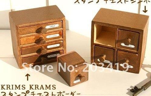 Wooden vintage stamper drawer Stamps set seal DIY diary carved gift decor craft scrapbook toy 2 option CN post